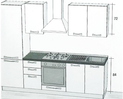 Cucina lineare economica ONE 255 cm.
